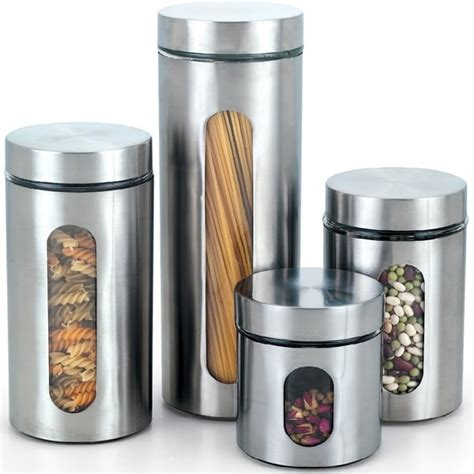 Red Ceramic Canisters For The Kitchen cook n home 4 piece glass canister with stainless window