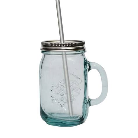 Essential Kitchen Knives eco glass mug with stainless steel lid and straw 550ml v