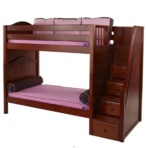 3 high bunk beds wopper hardwood high bunk bed with stairs in 3 finishes
