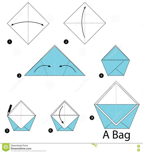 how to make an origami purse step by step how to make origami a bag stock