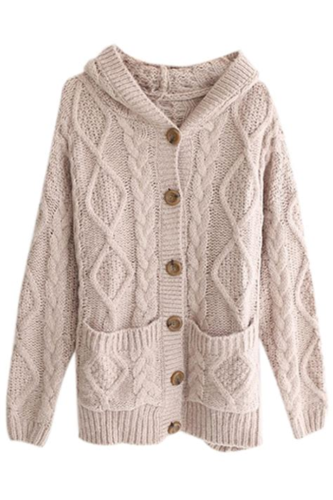 cable knit hooded cardigan romwe hooded pocketed cable knit light coffee cardigan