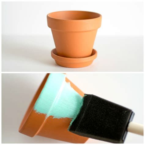spray painting terracotta pots diy gold dipped plant pots pbteen
