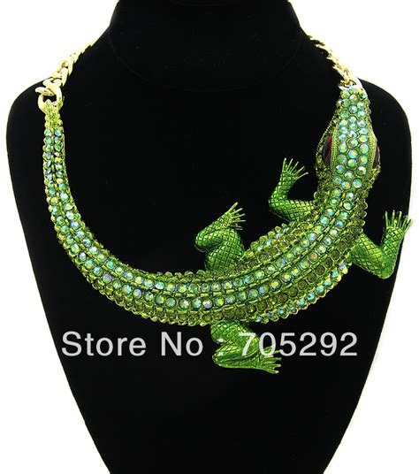 necklace with big fashion crocodile pendants chunky statement necklace