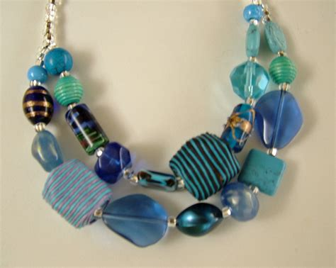 big bead jewelry two strand necklace with a collection of large blue glass