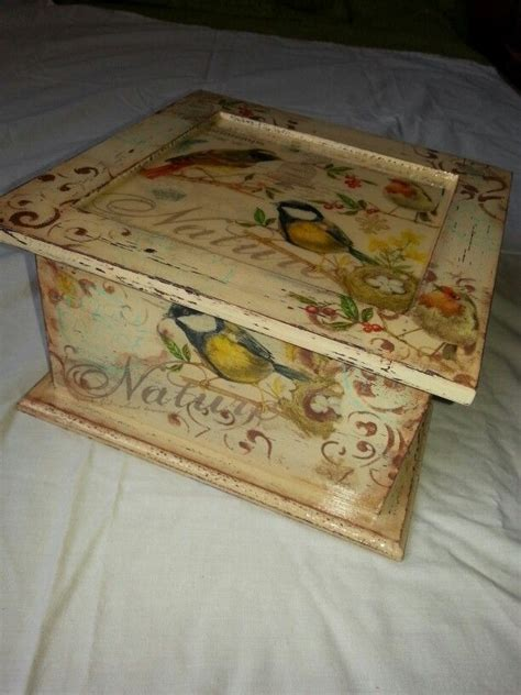 decoupage box ideas caja de t 233 decoupage stencil sellos resina caixas