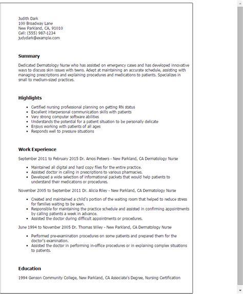 perfect resume outline professional dermatology nurse templates to showcase your