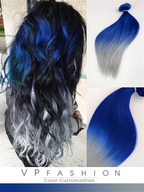 blue silver blue and silver ombre colorful indian remy clip in hair