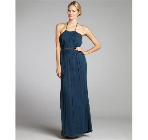 beaded halter gown vera wang lavender teal silk chiffon beaded waist halter