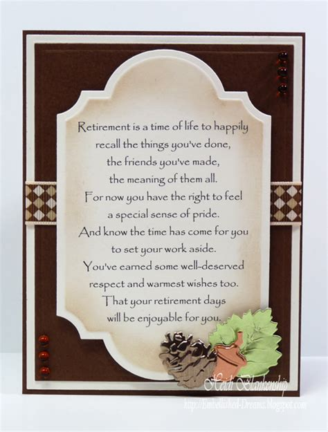 how to make a retirement card embellished dreams retirement card enjoy your days