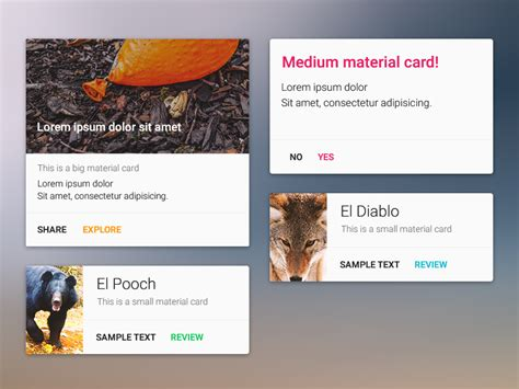 card materials for a card material design card component uplabs