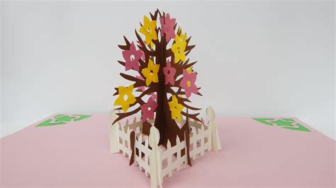 pop out tree card how to make a pop up card tree in autumn with flowers 3d