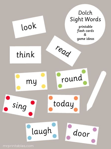 how to make vocabulary flash cards 7 best images of printable dolch sight word