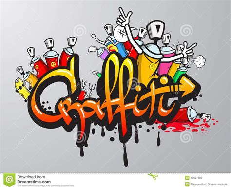 spray paint composition graffiti characters print stock vector image 43621266