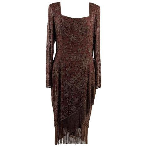 oleg cassini beaded dress black tie by oleg cassini vintage brown beaded evening