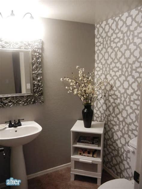 bathroom wall stencil ideas grey bathroom with stenciled accent wall bathroom grey piccolo and grey bathrooms