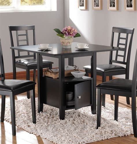 storage dining tables acme furniture drew black dining table with storage