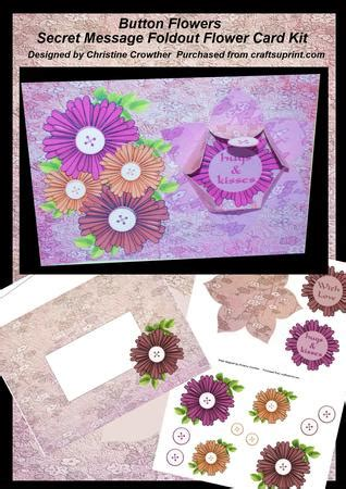 how to make a secret message card button flowers secret message foldout flower card kit