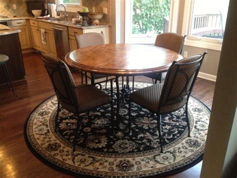 rugs for kitchen table need help on what shape rug to put kitchen