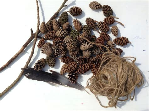 pine cone crafts for nature pine cone craft mobile outdoor mobile nature