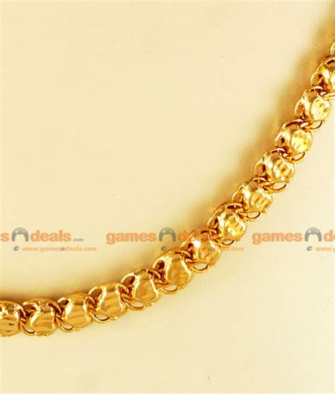 gold chain with black model chrt02 lg 30 inches one gm chidambaram gold plated jewelry