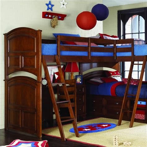 deer run bunk bed lea deer run wood loft bunk bed in brown cherry