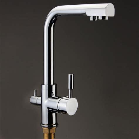 3 way dual handles kitchen sink faucet water filter