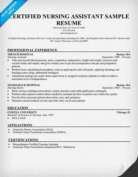 medical assistant history sample resume for cna experience resumes
