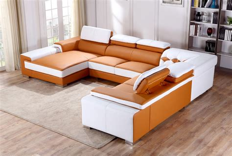 orange leather sectional sofa divani casa t366 modern orange white leather sectional sofa