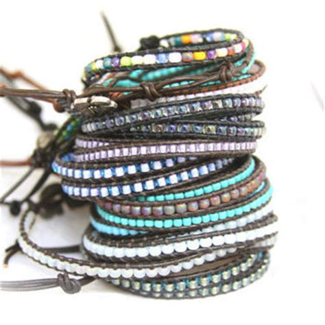 seed bead leather wrap bracelet seed bead leather wrap bracelet you from craevita on etsy