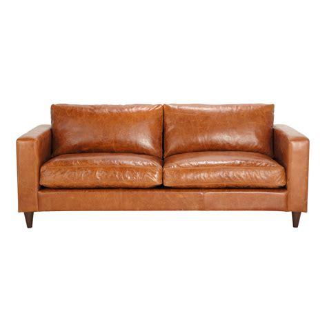 canap 233 vintage 3 places en cuir marron henry maisons du monde