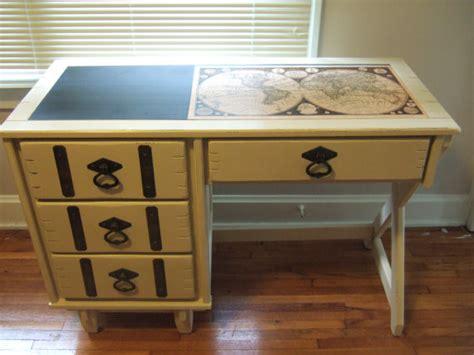 decoupage a desk vintage painted desk with decoupage map by essex cottage