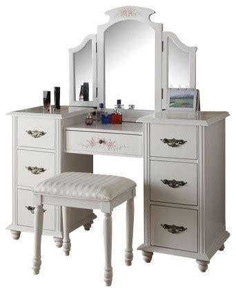 Acme Furniture Dining Room Set torian 3 piece white finish wood make up dressing table