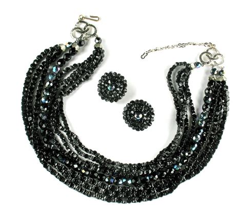 black bead earrings black iridescent bead necklace and earrings from