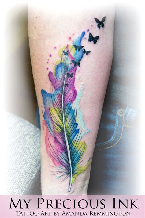 watercolor feather butterfly tattoo tattoo com