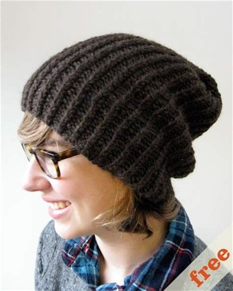 easy knitted hat free pattern for a simple slouchy knitted hat knitting