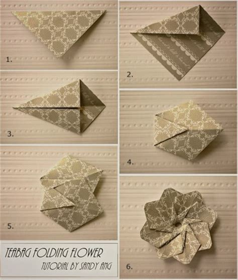 paper folding crafts step by step how to fold paper teabag flower step by step diy