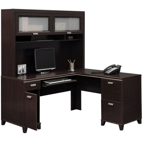 l computer desk with hutch bush tuxedo l shape wood computer desk set with hutch in