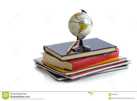 school picture books school books and a globe royalty free stock images image