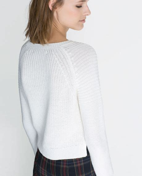 zara knitted sweater zara cropped knitted sweater in white lyst