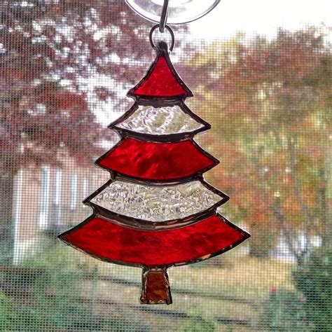 stained glass ornament stained glass tree ornament suncatcher and