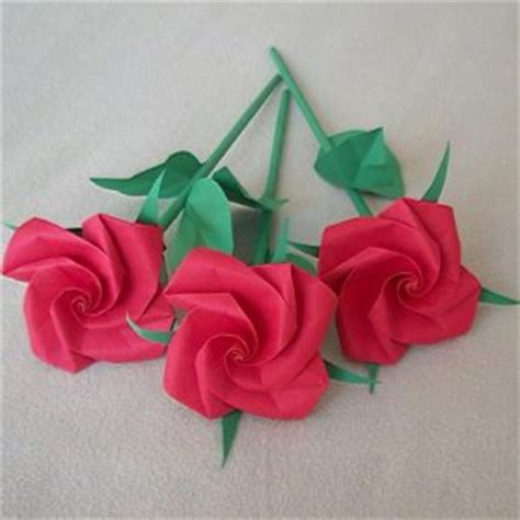 origami roses with stems handmade origami stem paper fold craft gift