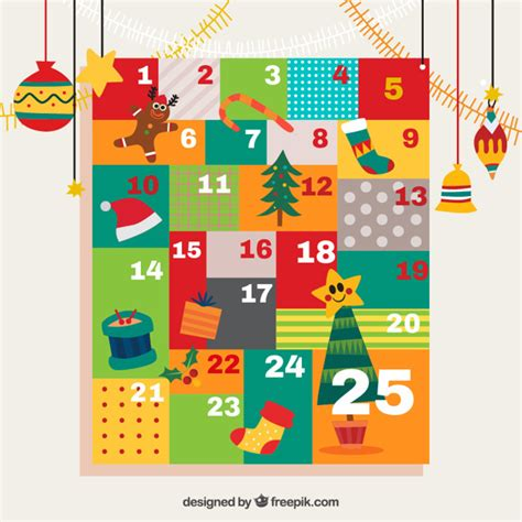 advent calendar with ornaments colorful advent calendar with ornaments vector free