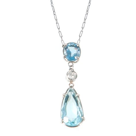 picture pendants jewelry edwardian platinum aquamarine pendant necklace