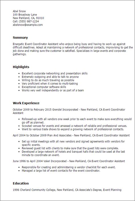 perfect resume outline professional event coordinator assistant templates to