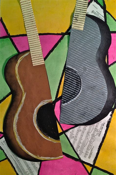 picasso paintings with musical instruments abstract guitar or instrument mixed media lesson