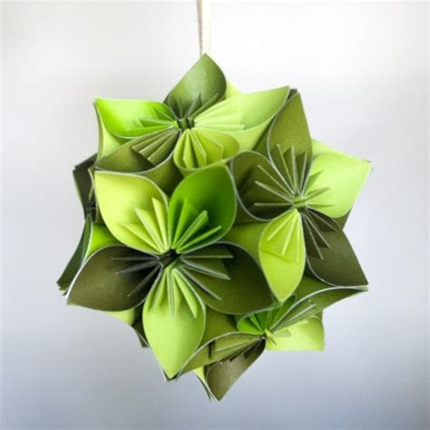 small origami flower mini kusudama green origami flower by juliedyecraft