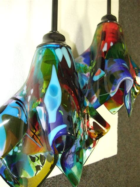Colorful Fused Glass Pendant Light Designer Glass