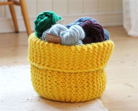 knitted yarn bowl pattern knit these handy storage baskets free pattern the