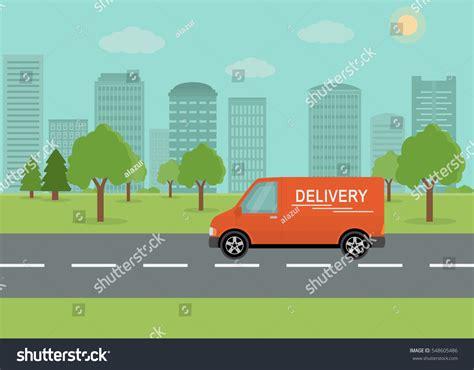 orange delivery orange delivery on city background stock vector