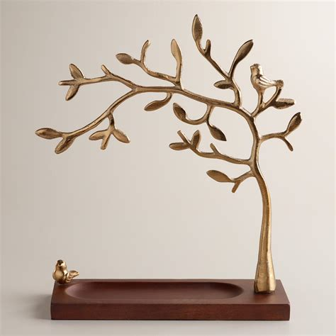 how to make a jewelry tree gold tree jewelry stand with wooden base world market